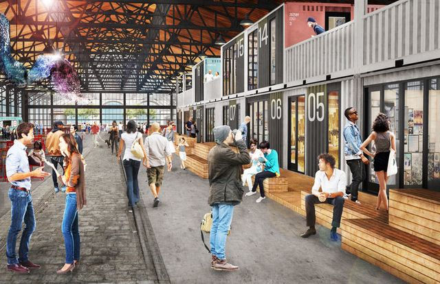 Shops cherry street pier garage rendering.two thirds