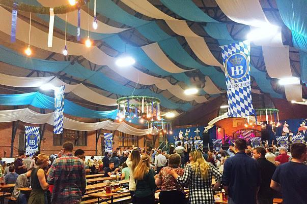 Last night we stopped by Brauhaus Schmitz's 23rd Street Armory Oktoberfest! Little did we know, we had stepped into a perfect version of the true German festvities. The 16,000 square-foot 23rd Street Armory (22 S. 23rd St.) has been totally transformed into the likeness of a Munich festival tent for the first annual 23rd Street Armory Oktoberfest for October 7-9, 2016. Decked out with Bavarian blue and white ceilings, authentic festival tables and benches imported from Germany plus a lofted stage area for musical acts like the Grammy-nominated Alex Meixner Band. Traditional food provided by Chef Jeremy Nolen and beer will be provided by the famous Hofbräuhaus will be served.