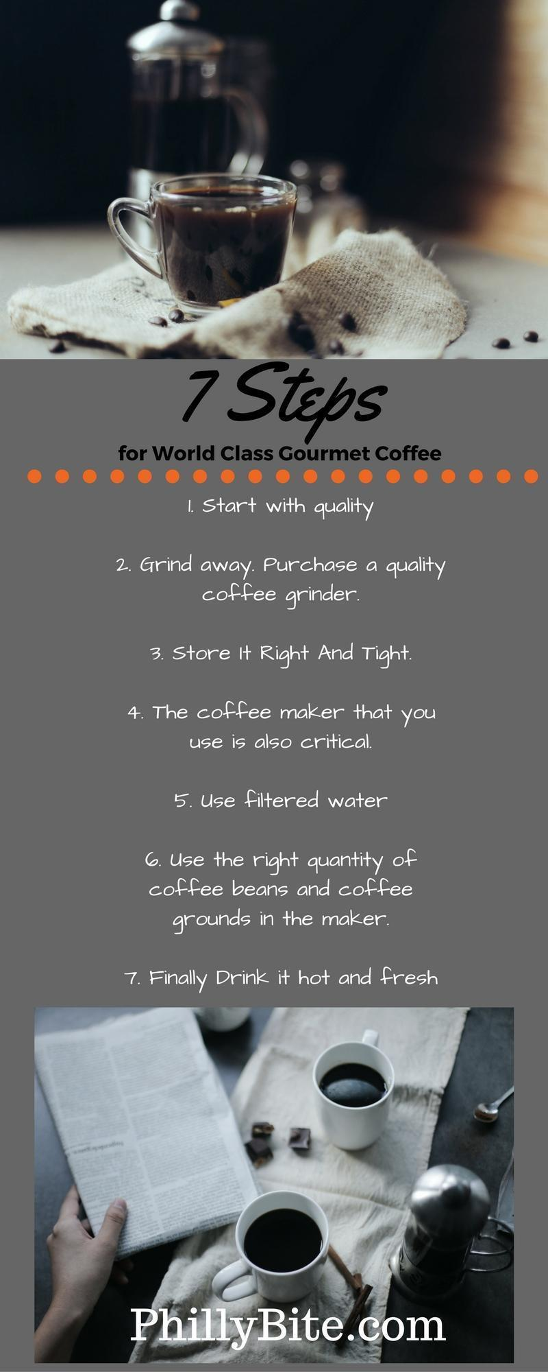 Here are 7 simple steps that you can take to produce the perfect cup of coffee every time.  Start with quality. One of the most critical aspects of coffee drinking is the grade of the coffee that you start off with. If you have a favorite flavor, then purchase whole beans in that flavor. If you can do this, it will allow you to get the most fresh coffee accessible.  Grind away. Purchase a quality coffee grinder. Some of the best grinders available today are easy to use and easy to clean up. By grinding your own coffee beans, youll be able to only grind what you need, meaning that you will have complete freshness in your coffee.  Store It Right And Tight. It is very fundamental to store your coffee tightly. Air oxidizes the coffee and can make it to get bitter quickly. Metal canisters can also enable a metal taste to get into the coffee, making it taste bad.
