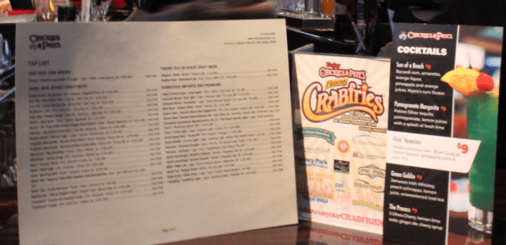 Chickie and Petes Menus
