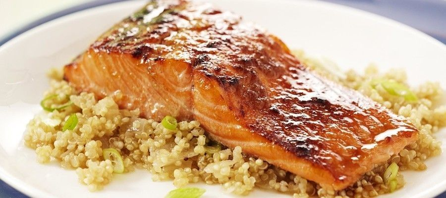 Low Calorie Baked Salmon over Apple-Ginger Quinoa