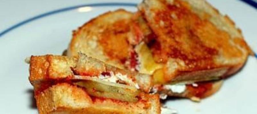 Grilled Eggplant and Goat Cheese Sandwich